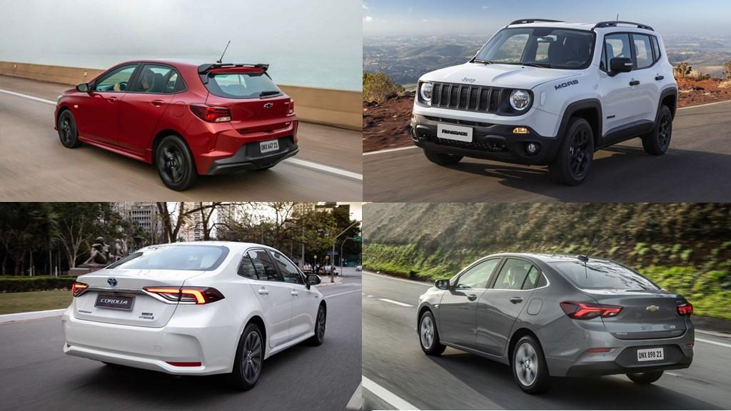 Carros mais vendidos em dezembro de 2020 por segmento (SUVs, sedãs e hatches)